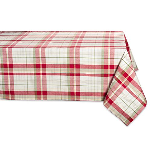 Orchard Plaid Square Tablecloth, 100% Cotton with 1/2