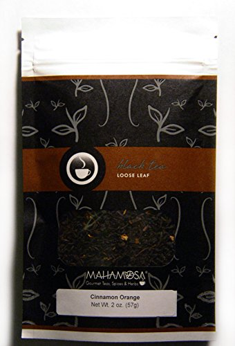 Mahamosa Cinnamon Orange Tea 2 oz - Loose Leaf Flavored Black Tea Blend (with orange peel, cinnamon pieces, ginger pieces, flavoring, vanilla pieces) (Cinnamon Flavored Black Tea)