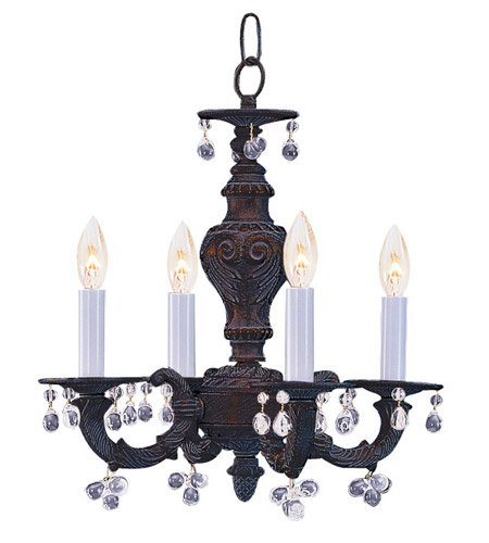 (Mini Chandeliers 4 Light With Venetian Bronze Murano Clear Crystal Wrought Iron 14 inch 240 Watts - World of Lighting)