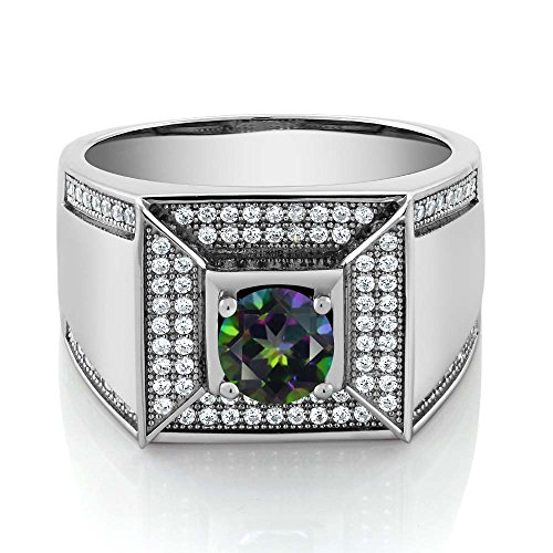 2.10 Ct Round Green Mystic Topaz 925 Sterling Silver Men's Ring