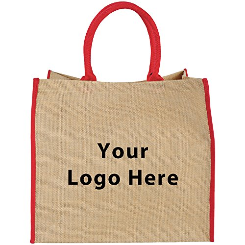 Large Jute Tote - 100 Quantity - $4.60 Each - PROMOTIONAL PRODUCT / BULK / BRANDED with YOUR LOGO / CUSTOMIZED by Sunrise Identity
