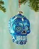 Christopher Radko Blue La Calavera Day of the Dead Skull Glass Christmas Ornament - 4.5''h.