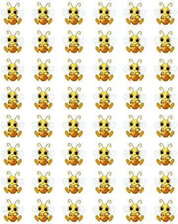 Set 48 Mini Bumble Bees Sticker Seals for Envelopes Decorative Bumblebee Decal Round Labels