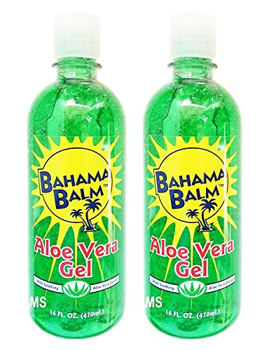 Set of 2 Bahama Balm 16oz Aloe Vera Gel After Sun Skin Care - Cools & Soothes - Helps Minimize Drying and Peeling Skin!