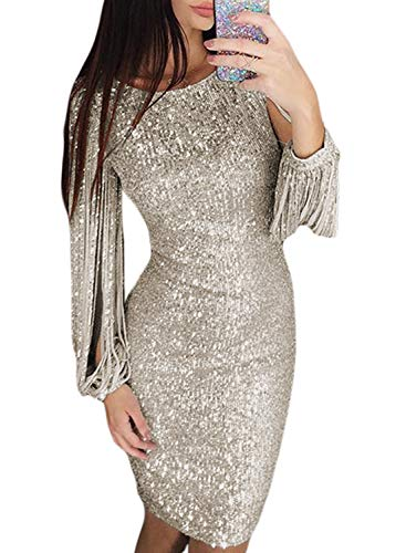 Elapsy Womens Fashion 2019 Sexy Sparkle Glitter Sequin Tassel Long Sleeve Round Neck Party Evening Bandage Dress Silver - Dress Glitter