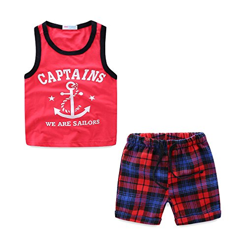 Mud Kingdom Tank Top Outfits for Toddler Boys 24 Months We are Sailors Captains Red -