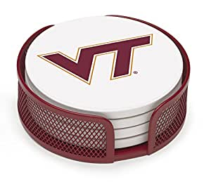 Thirstystone VVT-HA22 Stoneware Drink Coaster Set with Holder, Virginia Tech