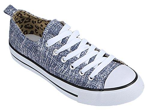 -Shop Pretty Girl Damen Turnschuhe Casual Leinwand Schuhe Solide Farben Low Top Lace Up Flache Mode 2,0 Distressed Denim