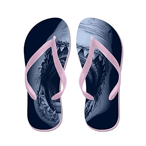 CafePress Big Shark Jaws - Flip Flops, Funny Thong Sandals, Beach Sandals Pink