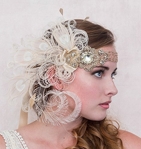 Flapper Headband Antique Gold Nymph Ivory Peacock Feather Headband, Gatsby Style by Deanna DiBene Millinery