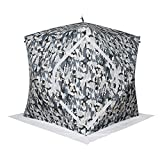 Portable Anti-UV Water Repellent Add Cotton Thickening Ice Fishing Shelter With Pop up Hub Sides Ventilation Removable Window Carry Backpack Ice Anchors Ropes, Up To 3 Person (Camouflage)