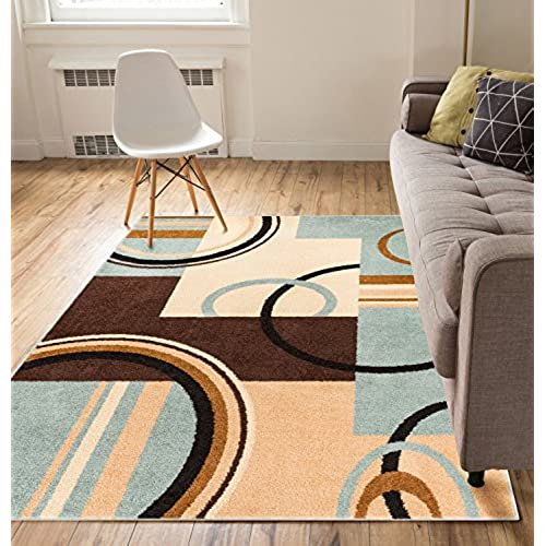 Metro Shapes Light Blue U0026 Beige Modern Geometric Boxes U0026 Lines Pattern 5u0027 X  7u0027 Area Rug Soft Shed Free Easy To Clean Stain Resistant