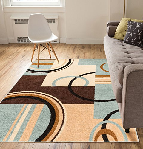 Metro Shapes Light Blue & Beige Modern Geometric Boxes & Lines Pattern 5' x 7' Area Rug Soft Shed Free Easy to Clean Stain Resistant (Blue And Brown Rug compare prices)