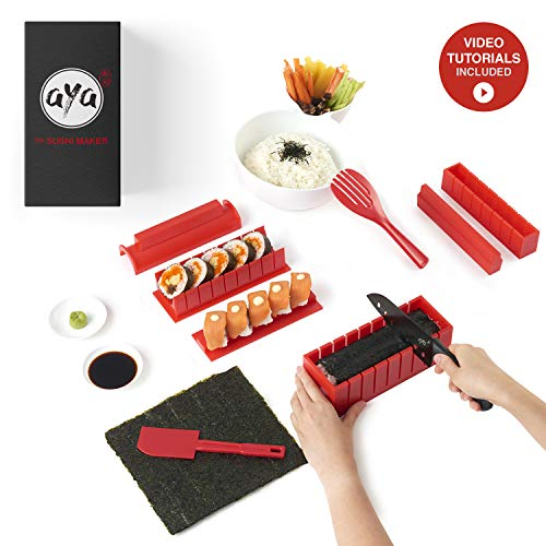 Sushi Making Kit - The Original AYA Bamboo Kit - Online Video Tutorials - Includes Sushi Chef Knife - 2 Rolling Mats - Rice Paddle & Spreader - 5 Pairs of Chopsticks - 100% Natural Bamboo - Fun & Easy (11 Rolls Piece)