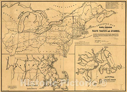 Historic 1851 Map | Skeleton map of Rail-Roads Between Cape Canso and St. Louis, 60in x 44in