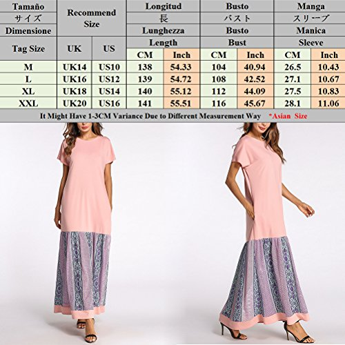 Zhuhaitf Musulmans Caftan Femmes Robe De Abaya Robe De Soirée Casual Wear Quotidienne Moyenne Robes Maxi De L'est Pink