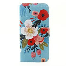 Sony M4 Aqua Case,Sony Xperia M4 Aqua Stand Cover,Sony Xperia Aqua M4 Cover,[Anti-Scratch] Premium PU Leather Wallet Flip Protective Skin Case for Sony Xperia M4 Aqua E2306 Smart Cover-Blue flowers