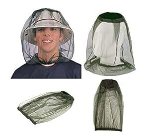 hualee Mosquito Head Net malla duradero repelente de mosquitos malla protectora Máscara Anti-Bite exterminador oliva 2Pack