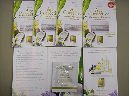 Eminence Coconut Age Corrective Moisturizer Card Sample Set of 6 Travel Size