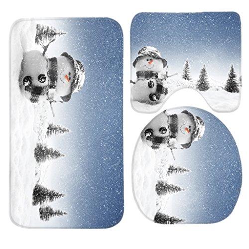 Snowman Bath (SSOIU 3 Piece Bath Mat Set Winter Snowman Non-Slip Bathroom Mats Contour Toilet Cover Rug)