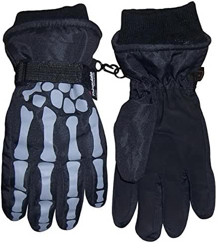 N'Ice Caps Boys Skeleton Print Waterproof Thinsulate Winter Snow Glove