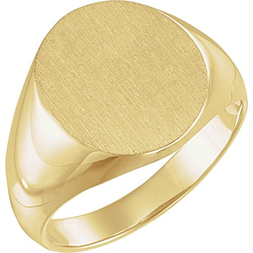 FB Jewels 14K Yellow Gold 14x12mm Solid Oval Men's Signet Ring