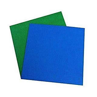"""Strictly Briks Classic Baseplates for Building Bricks 100% Compatible with Major Brands   Building Bases for Tables, Mats and More!   2 Base Plates in Blue & Green 15.75"""" x 15.75"""""""
