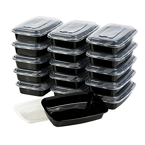 Meal Prep Containers, [15 Pack][36oz] Bayco 1 Compartment Food Prep Containers, lunch containers with lids - BPA Free, Leak Proof, Stackable, Reusable, Microwave, Dishwasher & Freezer Safe