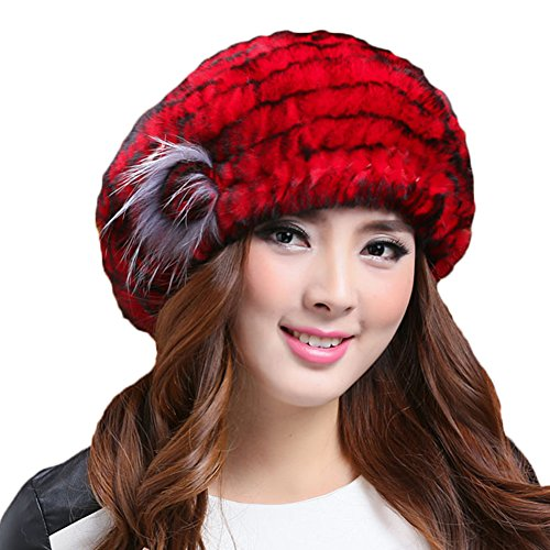 MINGXINTECH womens real rabbit fur with fox fur flower hat winter warm baret cap