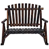 Outsunny 2 Person Fir Wood Rustic Outdoor Patio Adirondack Rocking Chair Bench