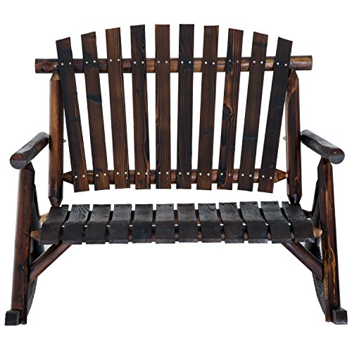 Outsunny 2 Person Fir Wood Rustic Outdoor Patio Adirondack Rocking Chair ()