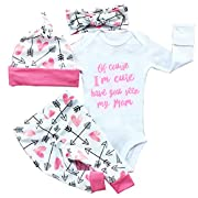 Gllive Baby Girls Clothes Long Sleev Miracles  Romper Outfit Pants Set +Hat+Headband (Tag:70 ,US 0-6 months, x-pink im cute)