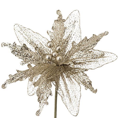 Glittered Champagne Gold Poinsettia Stem