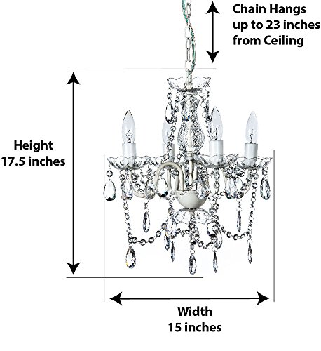 Review The Original Gypsy Color 4 Light Small Crystal Chandelier for H 17.5″ x W 15″, White Metal Frame with Clear Poly-carbonate Crystals