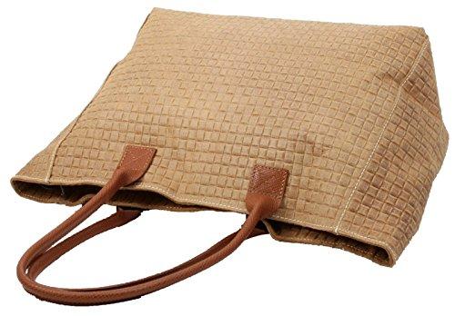 Made in Italy Damen Schultertasche Shopper XL Bag Echt Leder geflochten Cognac