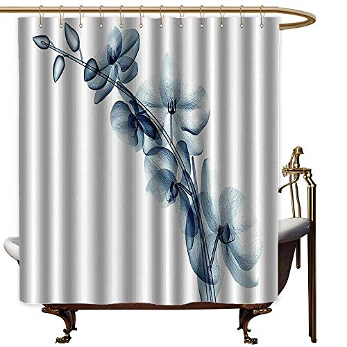 StarsART Shower Curtains Picasso Xray Flower Decor Collection,Contemporary X ray Illustration of Orchide Flower Unseen Nature Artistic Picture,Teal White,W69 x L72,Shower Curtain for clawfoot tub ()