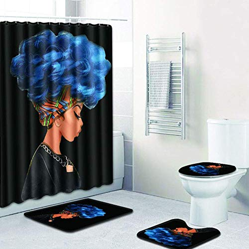EVERMARKET Creative Colorful Printing Toilet Pad Cover Bath Mat Shower Curtain Set for Bathroom Decor,4 Pcs Set - 1 Shower Curtain & 3 Toilet Mat and Lid Cover (African Woman - Shower 3 Curtain 4
