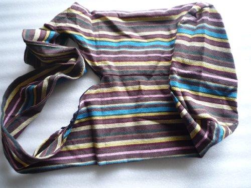 Handgefertigte Beuteltasche aus Baumwolle, handgewebt mit Muster; braun / bunt 38 x 20 x 35 cm (l x b x h); Henkel: 110 cm