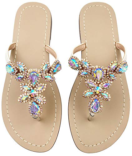 Hinyyrin Sandals for Women Rhinestone Flat Ladies Beach Sandals Beige Size 11