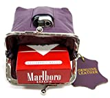 2pc Lot Genuine Leather Cigarette Case Pouch PURPLE + HOT PINK Fit 100s, King Regular 84s