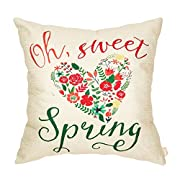 Fahrendom Oh Sweet Spring Watercolor Floral Heart Seasonal Quote Housewarming Holiday Gifts Cotton Linen Home Decorative Throw Pillow Case Cushion Cover with Words for Sofa Couch 18 x 18 Inch