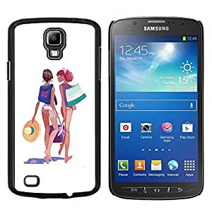 LECELL--Funda protectora / Cubierta / Piel For Samsung Galaxy S4 Active i9295 -- Beach Girls Bikini Traje Art Dibujo de Verano --
