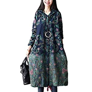 YESNO AC1 Women Loose Denim Trench Jacket Coat Floral Printed Button-Down Drawstring Hoodie Outerwear Breast/Side Pockets