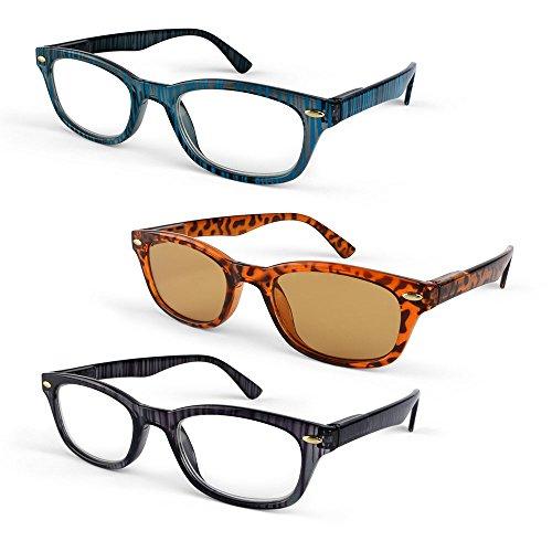 Primary Optics Classic Ladies Oval 46mm Reading Glasses with One Computer Lense Reader, Blue, Leopard, Purple - Optics Design Glasses