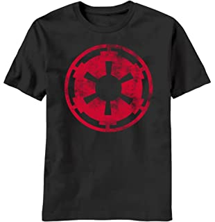 Distressed Red Empire Logo Image Star Wars Mens T-shirt