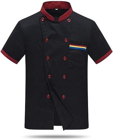 Camisa de Cocinero Unisexo Cocina Blanco Manga Corta ...