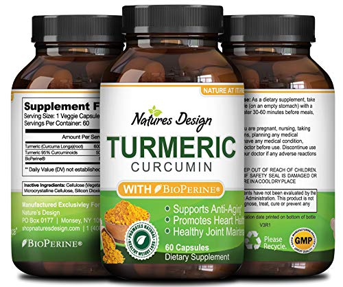 Natures Design Pure Turmeric Curcumin with Bioprene Black Pepper Extract With 95% Curcuminoids a Natural Sourced Capsules Increased Energy to Support for Women and Men