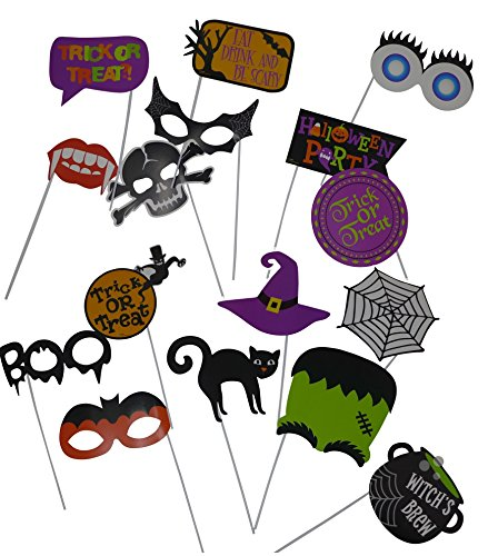 Halloween Photo Booth Props-on-Sticks (16-Pieces) Great for Masquerade, Party Favor, Decoration, Party Supply, Gifting ideas, Halloween Masks