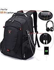 Tzowla Travel Laptop Backpack, Anti-Theft Water Resistant Business Backpack, TSA Lock & USB Charging Port, TSA Friendly Computer Backpack, Men Women College School Bag, Fit 16 Inch Laptops (Black)
