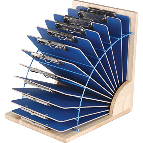 Really Good Stuff Wood and Wire Clipboard Stand–Holds 12 Raised or 24 Flat Clipboards –Ideal for Classroom or Office Organization